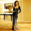 Sexy Formal de la sirena rebordeó hermosa vestidos de noche líbano Myriam Fares vestido de Arabia saudita Abiye manga larga vestidos noche