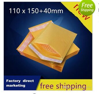 110*150+40mm Packaging Shipping Bubble Mailers Padded Envelopes Bags Golden Kraft Bubble Mailing Packing Bags 200pcs/lot