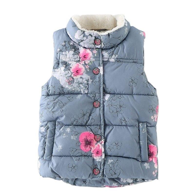 Aktiv 2017 Winter Mädchen Weste Dicken Baumwolle Floral Weste Für Mädchen Baby Mädchen Weste Für Kinder Oberbekleidung Kinder Baby Mädchen Kleidung Offensichtlicher Effekt