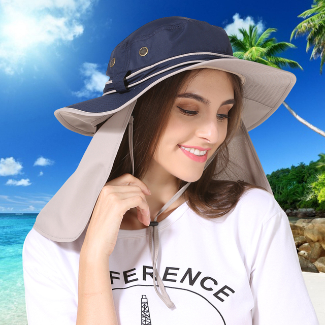 Wide Brim Men Women Bucket Hat With String Waterproof Outdoor Fishing  Hunting Hat Fisherman Bone Caps 05db1520ee5
