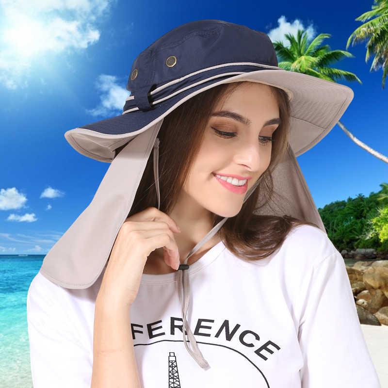 71f8b438 Wide Brim Men Women Bucket Hat With String Waterproof Outdoor Fishing  Hunting Hat Fisherman Bone Caps
