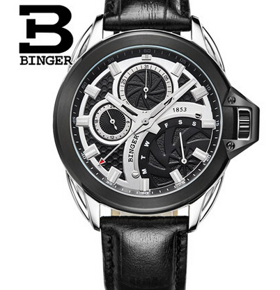Relogios masculinos 2017 Luxury Brand Binger Watch Men Fashion Quartz Business Casual waterproof Wristwatch Full Steel Watches oulm big unique designer watches men sports quality japan movt quartz gifts wristwatch vintage watch relogios masculinos 2017