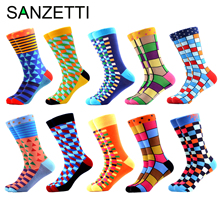SANZETTI 10 Pairs/Lot Colorful Mens Combed Cotton Socks Hip Hop Street Happy Crew Wedding Party Male Dress For Gift