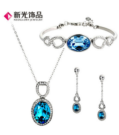 Fashionable Blue Stone Necklace Earrings Bracelet Set , Jewelry sets,