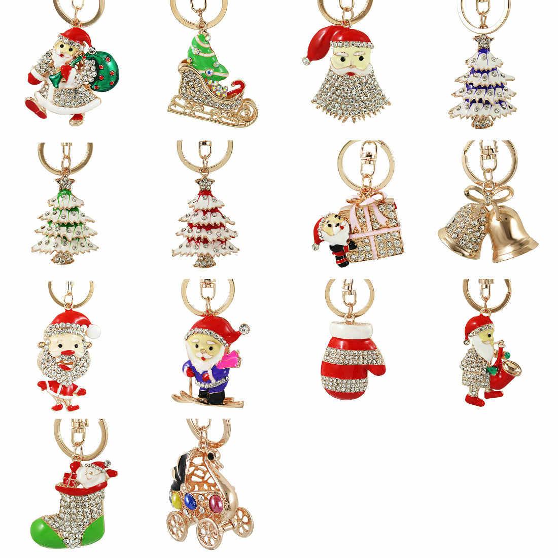 Emaye Noel Ağacı botları Noel Baba Anahtarlıklar Kırmızı yıldız kristal Anahtarlık Zincirleri Çanta Çanta Kolye Araba Anahtarlıklar Hediye