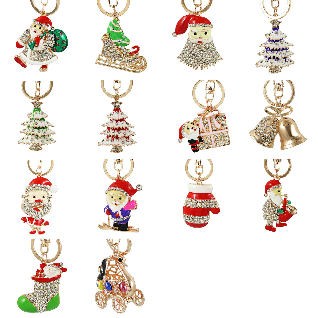Enamel Christmas Tree boots Santa Claus Keyrings Red Star Crystal Key Holder Chains Purse Bag Pendant For Car Keychains Gift