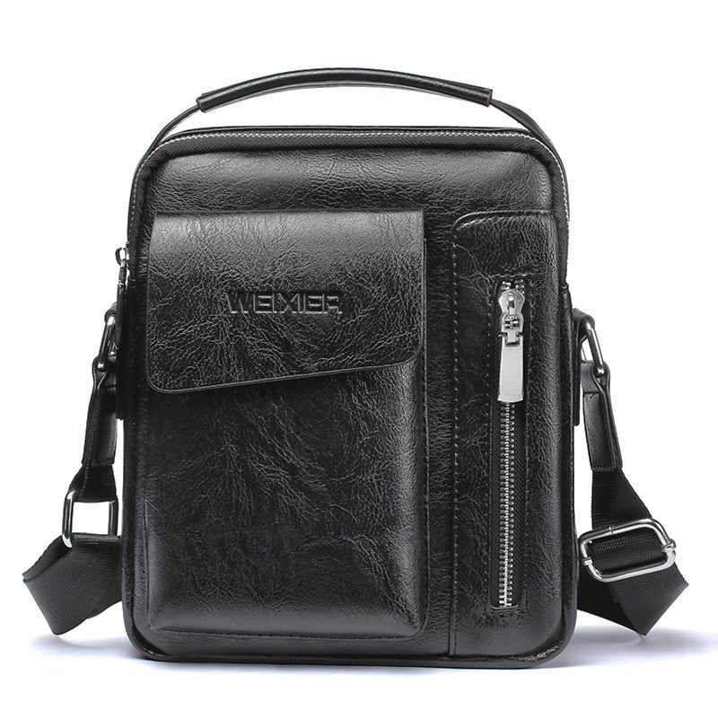 Vintage Messenger Bag Men Shoulder bags Pu Leather Crossbody Bags For Men Bags Retro Zipper Man Handbags WBS510