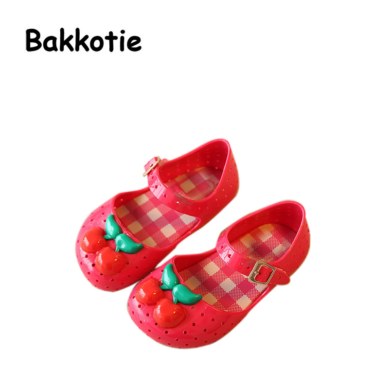 Bakkotie 2017 New Arrival Summer Girls Sandals Jelly Shoes Satin Cherry Soft Sole Sandals Boys Shoes Breathable Yellow