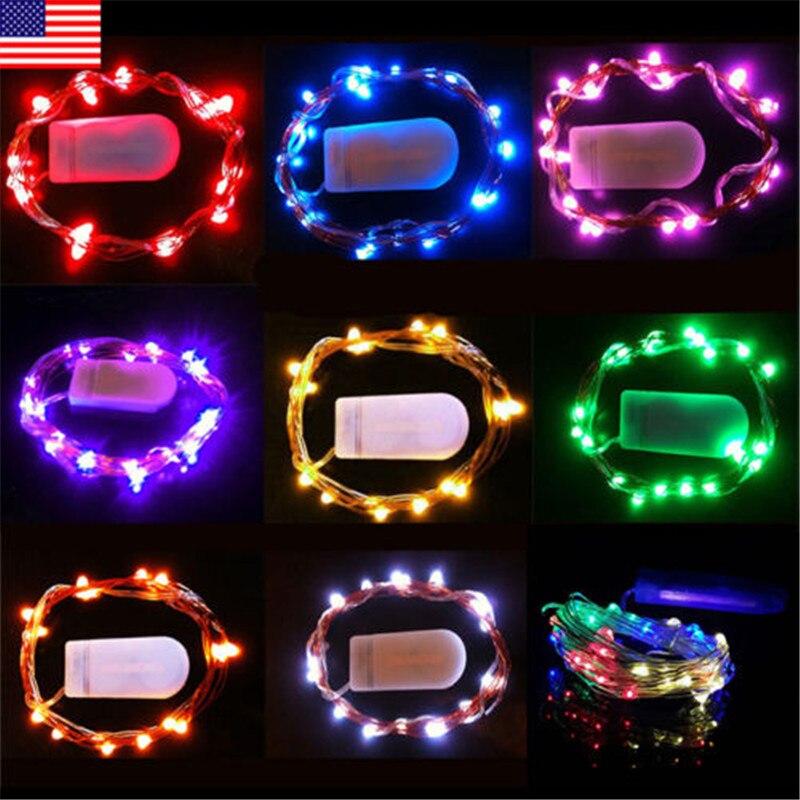 2 M 20 LED s LED chaîne CR2032 à piles Micro Mini lumière cuivre argent fil étoilé ampoules LED pour noël Halloween décor