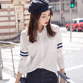 Shirts women 2016 Autumn BF batwing sleeve plus size  white long-sleeve Blouse women's Shirt female Big Pocket Blouses