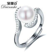 Dainashi 8-9mm Perle Anneaux Pour Les Femmes Blanc Mode Naturel D'eau Douce Perle 925 Argent Anneau Géométrique Anneau De Mariage perle Bijoux