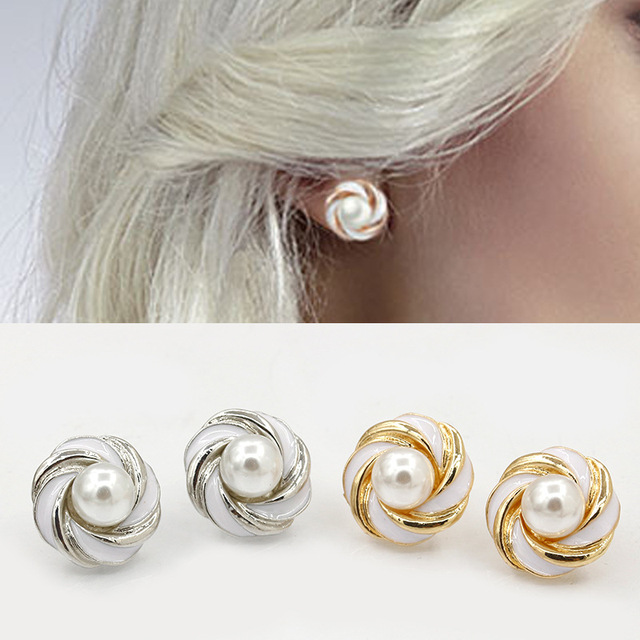 Simulated Pearl Earrings For Women Aretes Fashion Flower Boucle D Oreille Ear Ring Oorbellen Perlas
