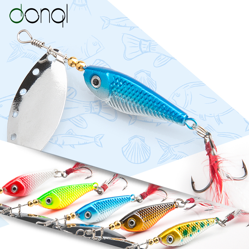 DONQL Spinner Metal Spoon Fishing Lure 13g 16g Sequin Artificial Wobbler Fishing Bait With Strong Treble Hooks Lures
