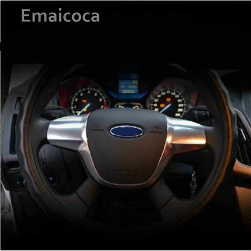 Emaicoca ABS Nẹp Viền Bọc Vô Lăng Miếng Dán Kính Cường Lực Dành Cho Xe Ford FOCUS 3 MK3 2012-2014 Kuga Năm 2013-2015 Tự Động Phụ Kiện