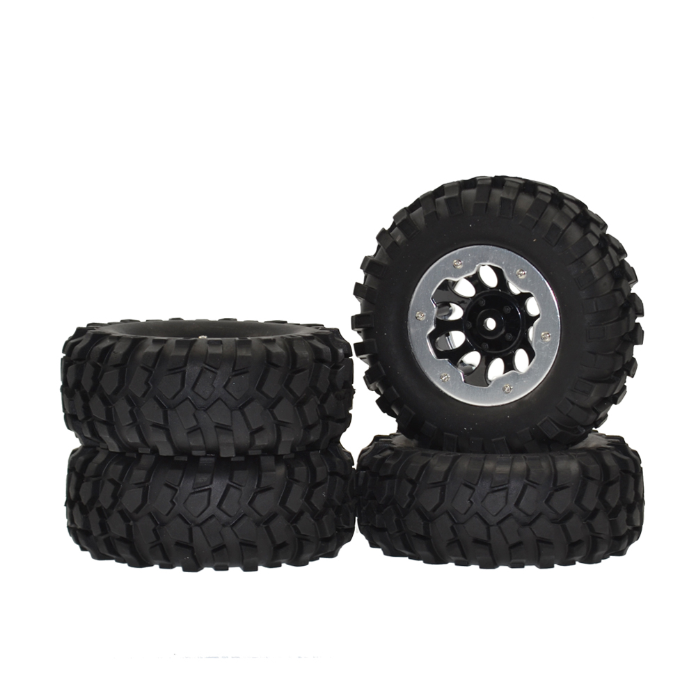 1/10 Rc 96mm 1.9 Rubber Rocks Tyres & Metal Beadlock Wheel Rims for Axial SCX10 RC4WD D90 Tamiya CC01 RC Rock Crawler Car 4pcs 1 10 scale rc climb car 1 9 beadlock crawler wheels rims for rc4wd scx10 cc01 alloy aluminum spoke wheel rim