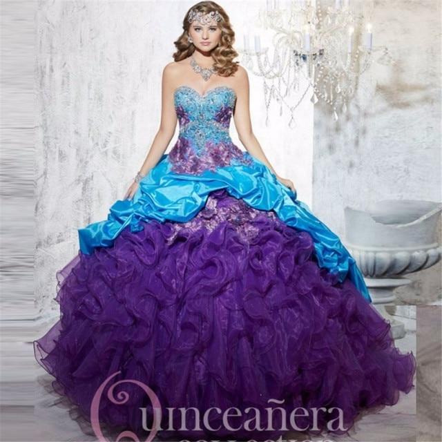 Vestido Quinceanera por 15 anos 2016 Impressionante das mulheres Roxo vestido de Baile Ruffled Quinceanera Vestidos Vestidos de Festa de Cristal Do Grânulo