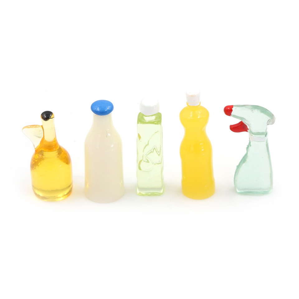 Dollhouse Miniature 1:12 Toy 5 Pieces Plastic Kitchen Bottles Height 3cm IN