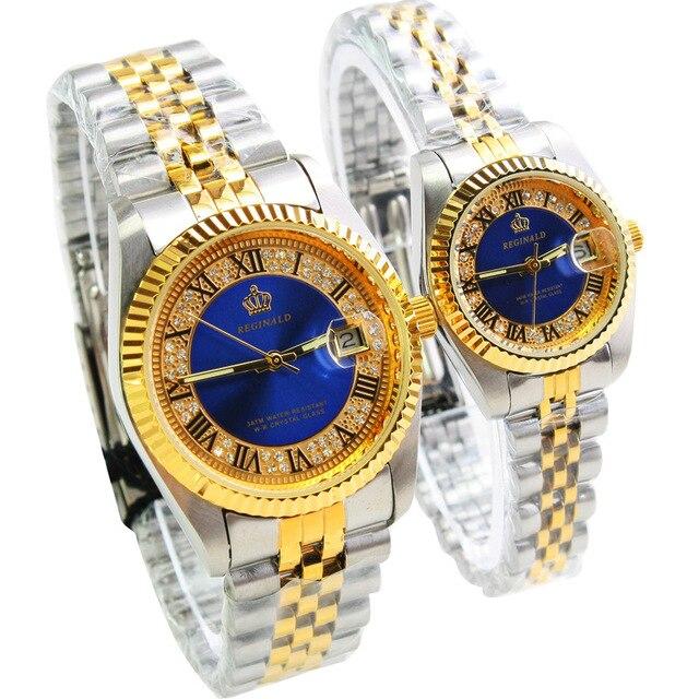 2016 Original REGINALD Date Waterproof Crystals Men's Watch Steel Wrist Watch Ar