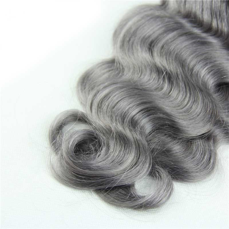 Full-Shine-Brazilian-Real-Human-Hair-3-Bundles-With-Lace-Closure-Color-1B-Ombre-Silver-Body (2)
