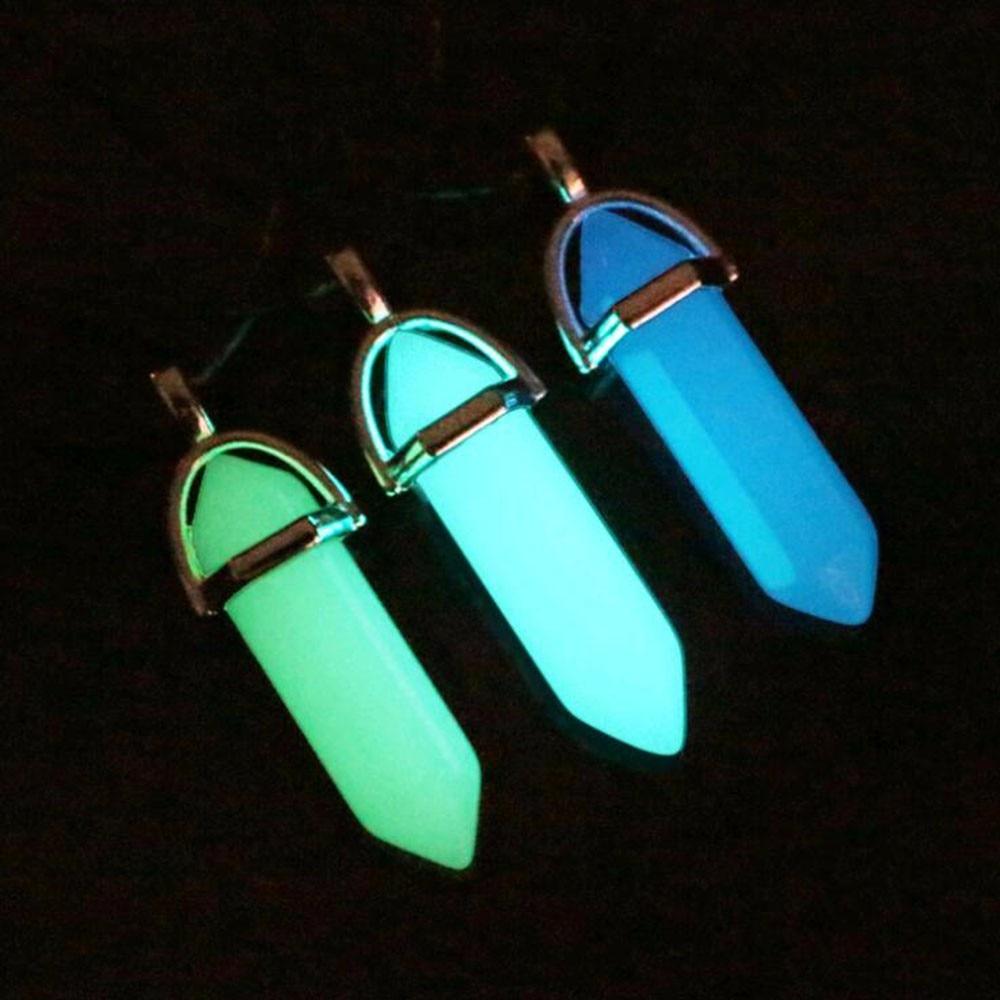 VKME Новинка светящийся камень флуоресцентная шестиугольная колонна ожерелье натуральный кристалл драгоценный камень подвеска кожаные цепочки ожерелье