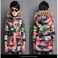 Boys Winter Jacket Camouflage Coats Hooded Down coat Fur Collar Overcoat Cotton Snowsuit Teenages Outerwear SYHB120905