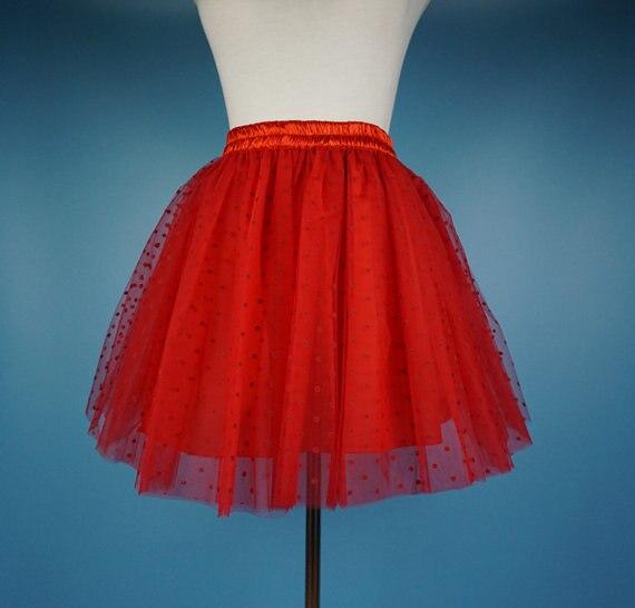 Горошек юбка-пачка взрослых Тюлевая юбка Для женщин горошек пачка красные, черные горошек взрослых короткая юбка 40 см Длина - Цвет: red regular dot