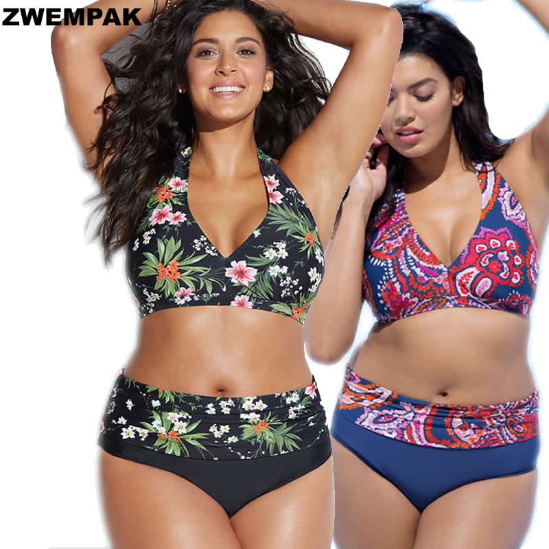 Female Plus size 2XL-5XL Swimsuit <font><b>2018</b></font> <font><b>Sexy</b></font> Big Size Print <font><b>Floral</b></font> <font><b>High</b></font> <font><b>Waist</b></font> <font><b>Swimwear</b></font> Vintage Large Size Bathing Suit For Women image