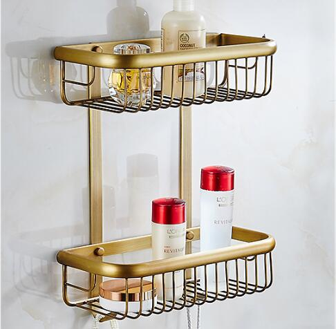 Wall Mounted Copper Bathroom Soap Dish Antique Two Tier Bath Shower