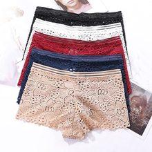 Sexy Lace Panties Seamless Boyshort Transparent Mid-Waist Women Underwear