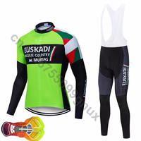 Spring autumn 2019 pro cycling team euskadi green jersey man cycling jersey long sleeve MTB cycling jersey cycling gel pad 16D