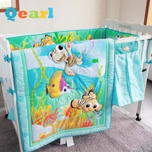 100% Cotton Baby Bedding Set 8 Pieces Ocean World Style Nursery Bedding Diaper Bag+Quilt+Bumper+Bedskirt+Mattress Cover