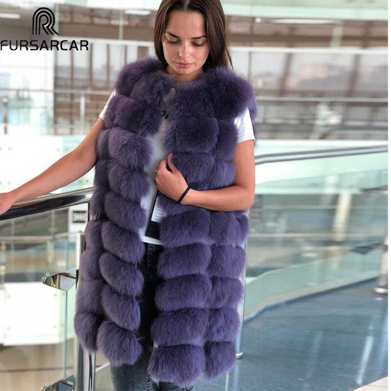 FURSARCAR New Fashion Winter Fur Vest Women Natural Fox Fur Coat 90cm Long Warm Real Fox Fur Gilet Winer Natural Real Fur