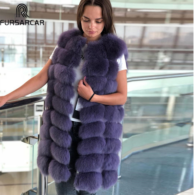FURSARCAR New Fashion Winter Fur Vest Women Natural Fox Fur Coat 90cm Long Warm Real Fox Fur Gilet Winer Natural Real Fur