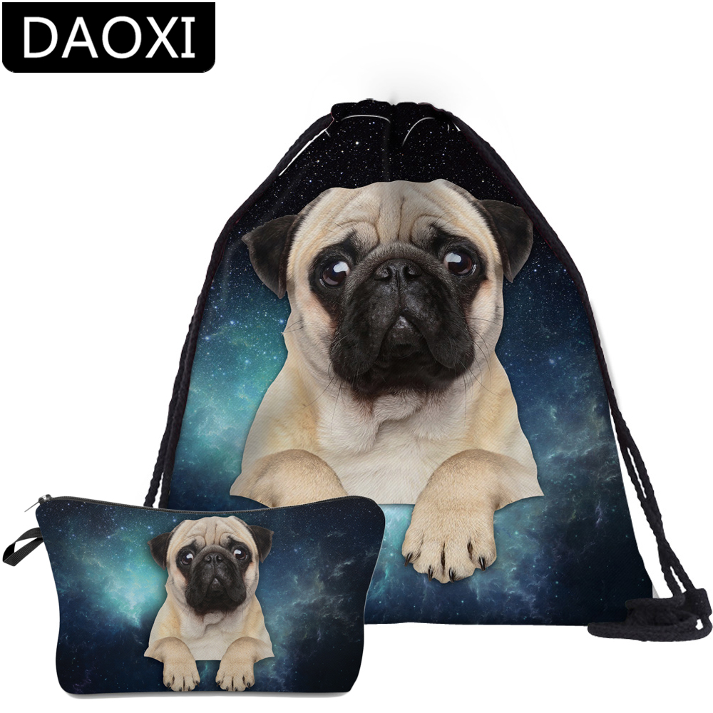 DAOXI 2Pcs Pug Backpack School Backpack For Kids Teenager Girls