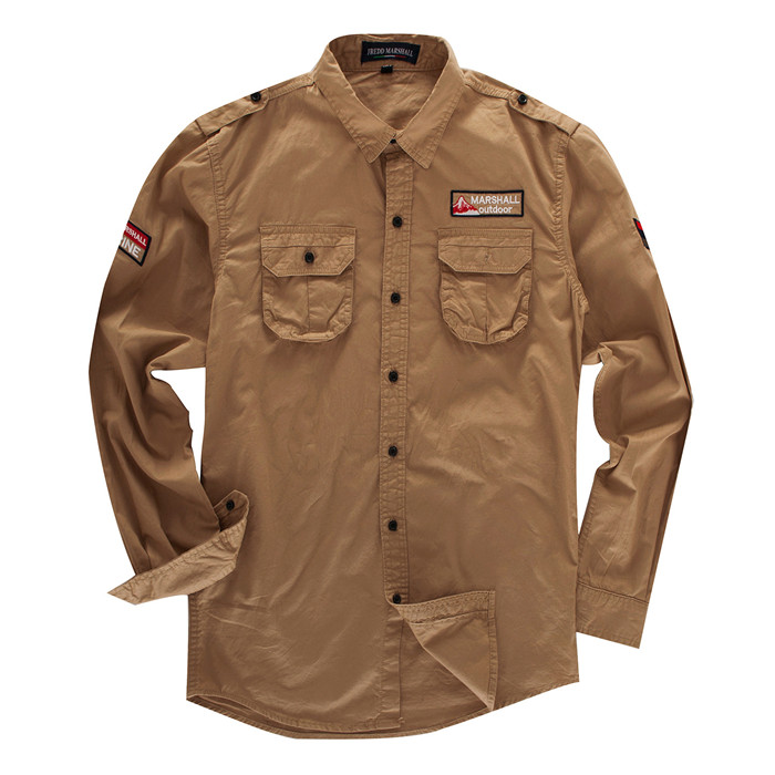 Casual Shirts Industrious 2019 Mens Cotton Cargo Shirt New Casual Long Sleeve Embroidery Solid Shirts Classic Military Shirt Army Green Khaki Blue,fm115