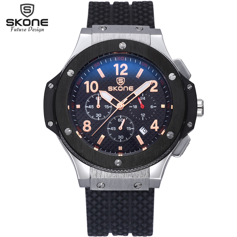 SKONE Top Brand Waterproof 24 Hours Display Chronograph Sport Watch Men Silicone Watch Shock Resistant Quartz Army Watch Relogio skone relogio 9385