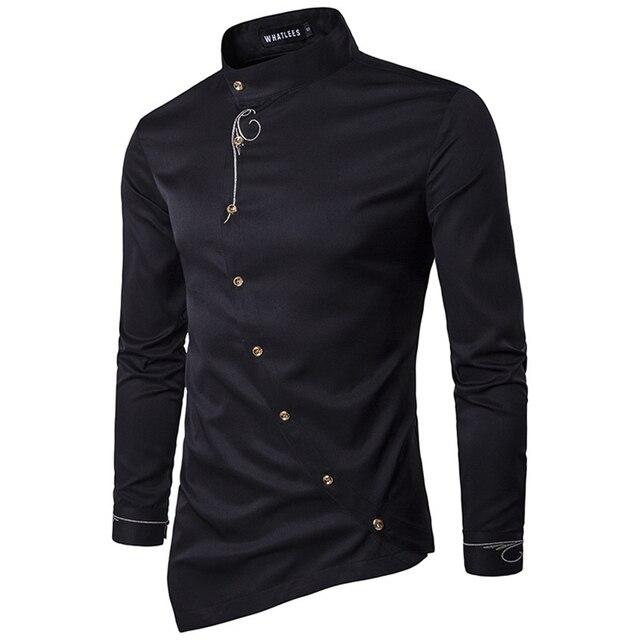 2017 бренд-clothing Men Shirt Черный Белый Нагрудные Королевский Мужчины Печати Партии Свадебные Рубашки camisas социальной masculina Блузка Sz S-XXL