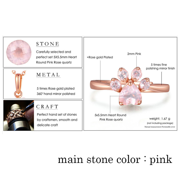 Cute Bear Paw Cat Claw Opening Adjustable Ring Rose Gold Rings for Women Romantic Wedding Pink