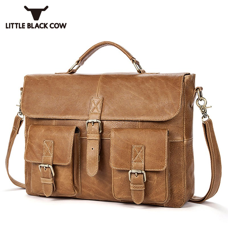 New Genuine Leather Handbag Office OL Shoulder Bag Man Flap Pocket Computer Big Handbags Brown Totes Bags Men Big Sacoche Homme maisy s big flap book