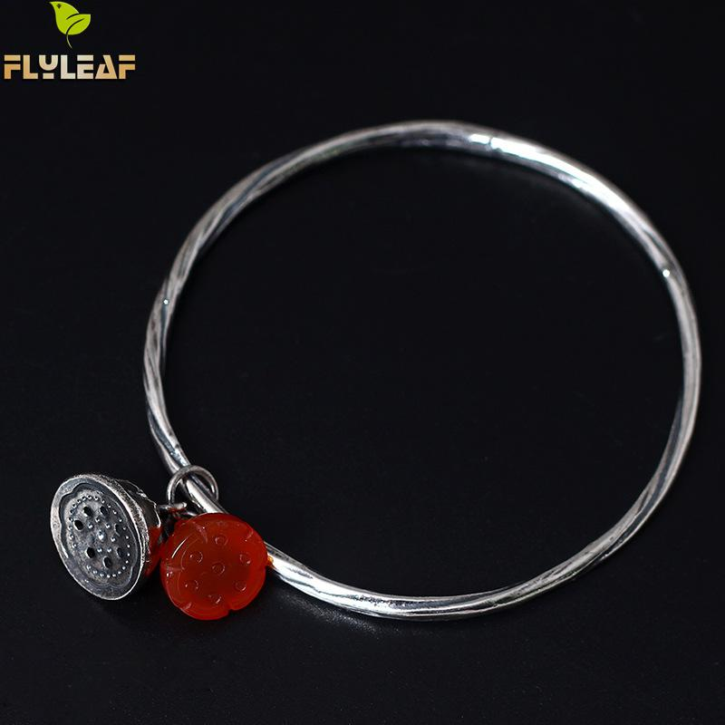 купить Flyleaf 2017 Red Natural Stone Lotus Seeds Bracelets & Bangles For Women Vintage Style 100% 925 Sterling silver jewelry недорого