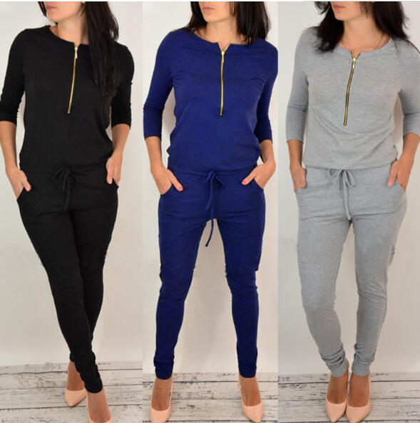 Womem Jumpsuit Autumn 2019 Zipper Fashion Casual Long Sleeve Loose Playsuit Spring Outfits Black Gray Blue