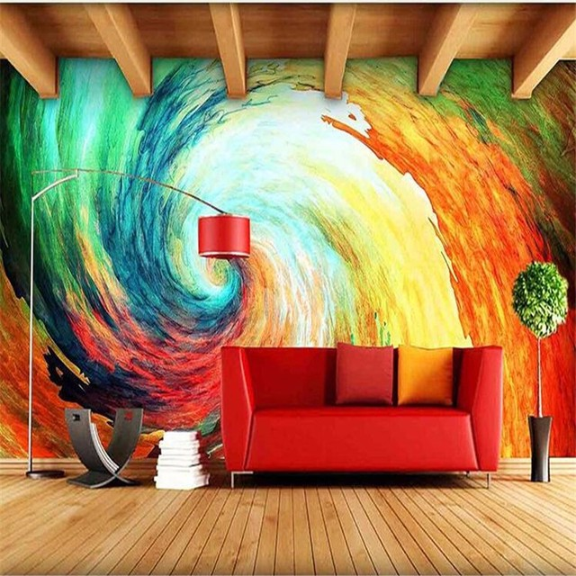 Personalized Customization Colorful Abstract Oil Painting 3D Mural Wallpaper Restaurant Clubs KTV Bar Modern Simple Decor