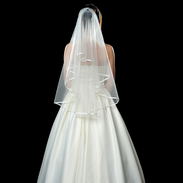 1.5M Ribbon Edge Two Layer Wedding Veil with Comb White Ivory Tulle Bridal Veil