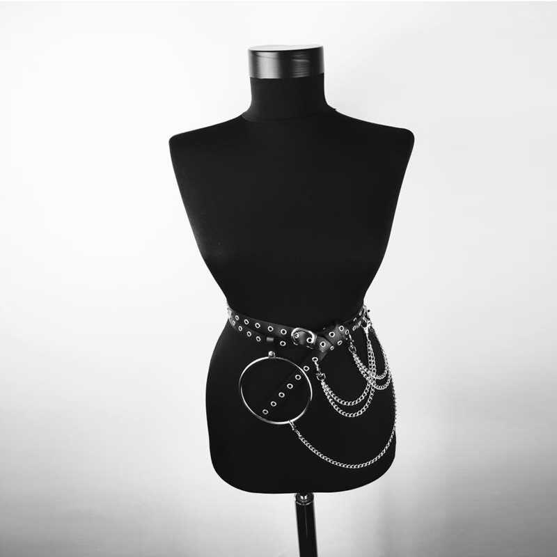 2019 المرأة بو الجلود تسخير الجسم أحزمة مع سلسلة الخصر عبودية الخصر الأربطة فاسق قابل للتعديل حمالة الأشرطة المتناثرة الرباط