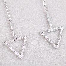 Stud Earrings Women Silver Chain Tassel Minimalist Earrings Jewelry Elegant Sterling silver Triangle Earring With Rhinestone
