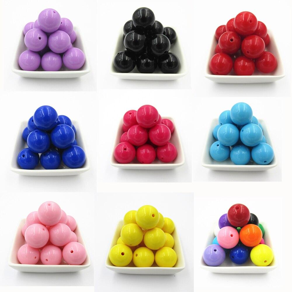 Großhandel 6mm/8mm/10mm/12mm/14mm/16mm/18mm/20mm Acryl Solide Chunky Perlen (Wählen Farbe/Größe Erste)