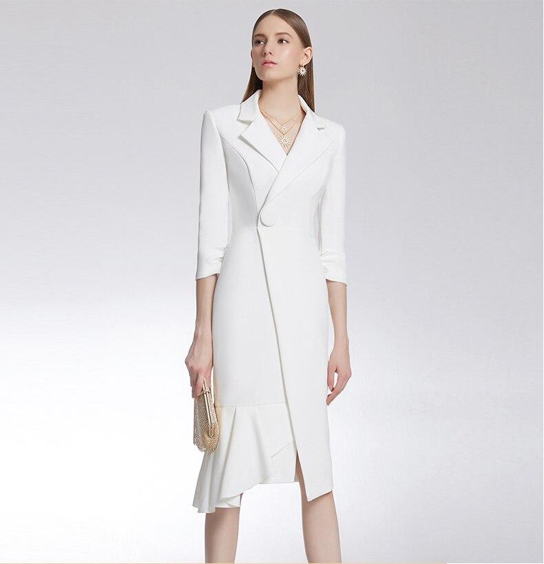 a6ee848bd8a2db Kobieta suknie eleganckie wieczorowe długość do kolan elegancki bawełna  solidny długi rękaw sukienki do kolan białe ciało stałe V Neck Sexy  wysokiej urząd ...