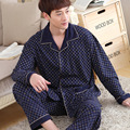 2016 New Arrival Nightwear Navy Spring Men Pajama Sets Cotton Full Sleeve Pyjamas Male Sleepwear Casual Soft Homewear