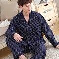 2016 Nueva Llegada Navy Primavera Hombres Pijama de Dormir Homewear Pijamas ropa de Noche Masculina de Algodón de Manga Completa Casual Suave