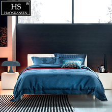 HS Luxurious Dark Blue Lotus Flower Thickened 4pcs Jacquard Comforter Bedding Sets Pure Color Bed Linens King Size Bedclothes